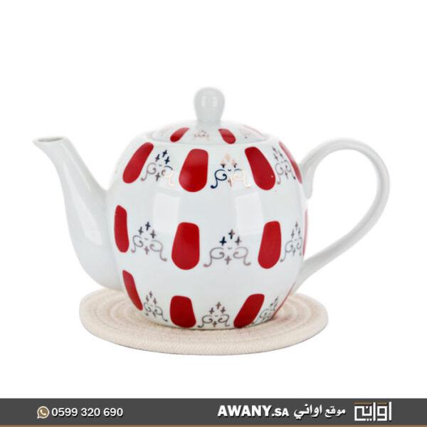 غوري بورسلان تراثي (براد شاي البصمة الحمراء) خزفي