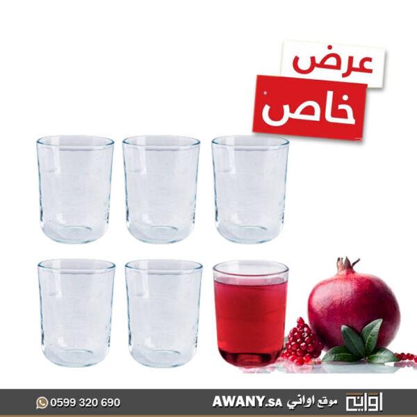 6كاسات عصير زجاج